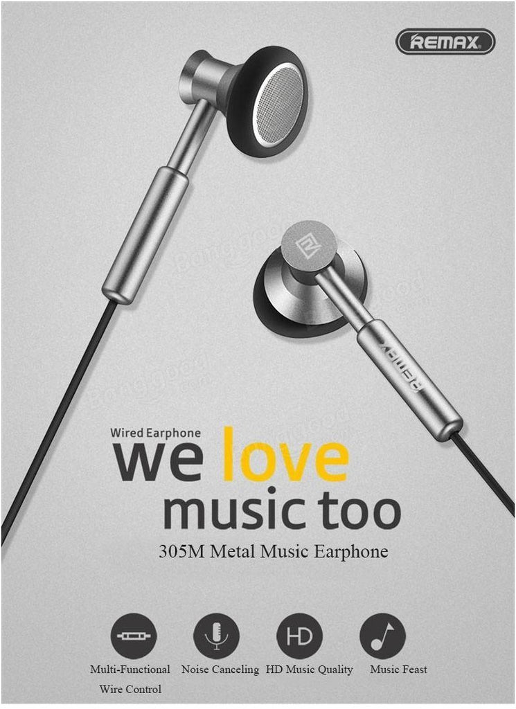 REMAX Metal Alloy Earbuds With Smart Wire Control with MIC & Volume EZ216-Silver - EZELLER