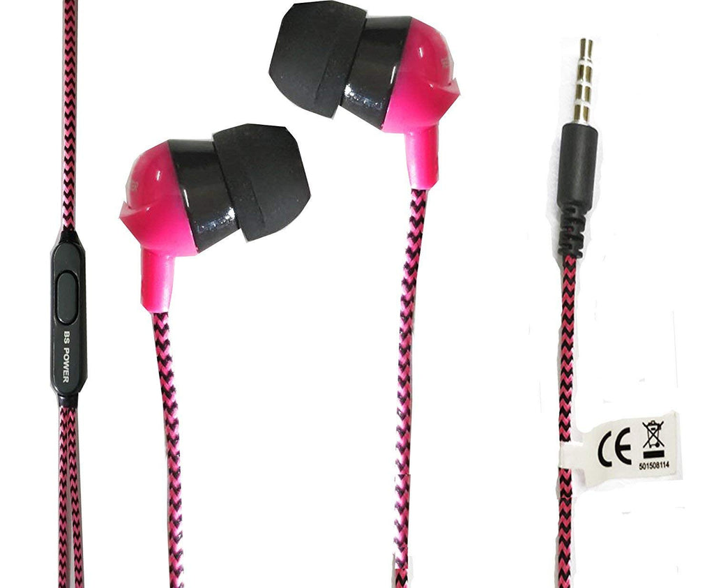 Music Fan EarPhone with Mic for Calls & Music EZ262 PINK - EZELLER