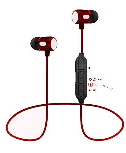 Bluetooth Lightweight Stereo Earbuds with Magnetic Connection Sweat proof Sports Headset EZ306-RED - EZELLER