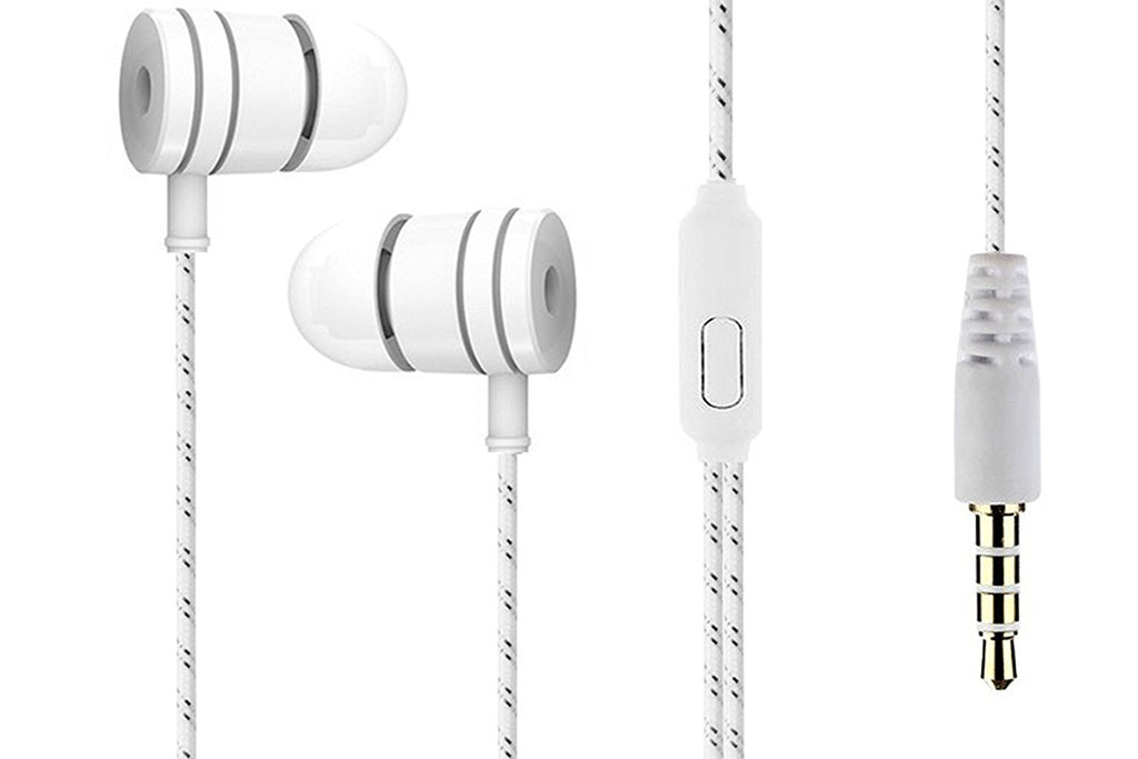 Power Bass Beats Earphone 3.5mm Headphone with MIC EZ323 White - EZELLER