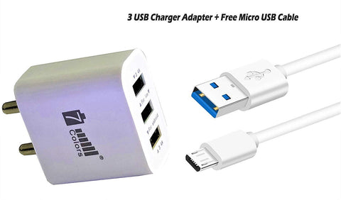 7 Colour Charger Fast Charger 3.4 A|Power Adapter 3 USB for AllAndroid Mobile Phone - EZELLER