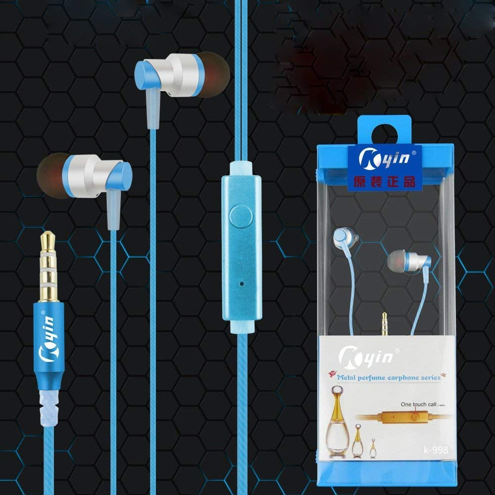 KIN Metal In-Ear Earphones with Mic for Smartphones (Black, K-998 EZ367BLUE - EZELLER