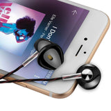 KIN Fashion Sport Earphone with Mic & Volume (-/+) Gold Plated Pin EZ399 BLACK - EZELLER