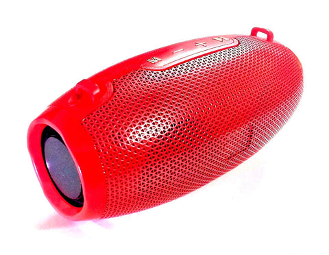 Rugged Rugby Bluetooth Speaker with USB/TF Slot | FM Radio | Aux EZ424 RED - EZELLER
