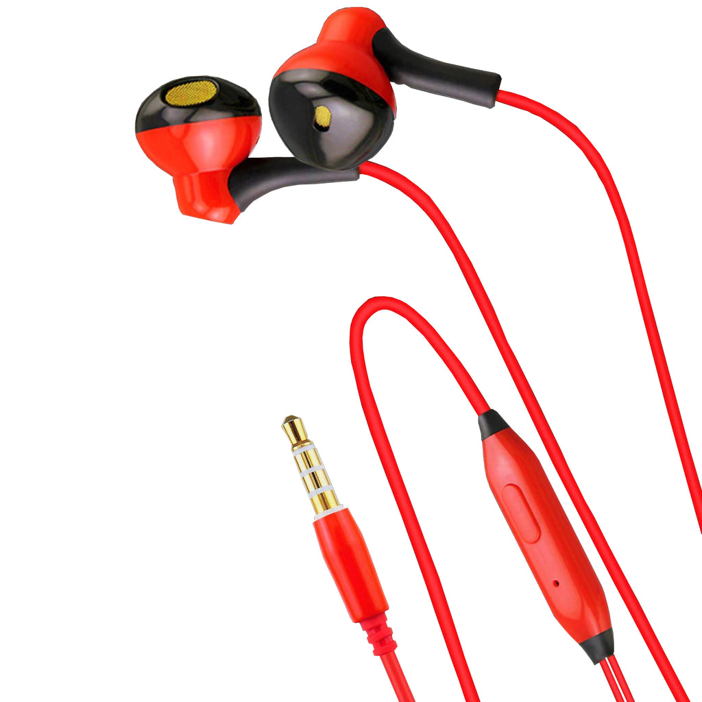 KIN Style Headphone | Earphone with Mic for Mobile Phones EZ428 RED - EZELLER