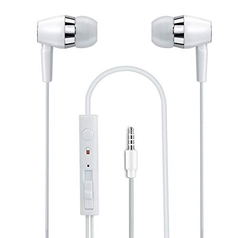 4in1 Universal Earphone with Volume +/- Compatible with All Android Mobile Phones EZ465 (White) - EZELLER