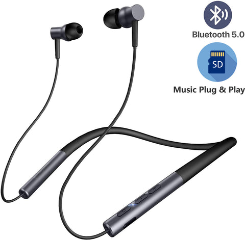 JOY Sports Plus Bluetooth Neckband with TF Card Slot Magnetic Head with Bass + for Smartphones