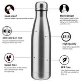 Stainless Steel Water Bottle (2 Packs Combo) 750 ML Durable BPA Free Leak - EZELLER