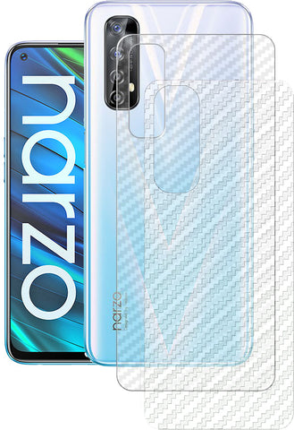 NARZO 20 PRO Back Screen Protector by Ctel, 3D Back Skin Carbon Fiber Ultra-Thin Protective Film (2 Packs) Transparent Back Cover for RealMe NARZO 20 PRO