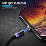 IVON Magnetic USB Charging Cable Micro USB Type C Lighting Rugged Nylon Braided Wires with Metal Heads