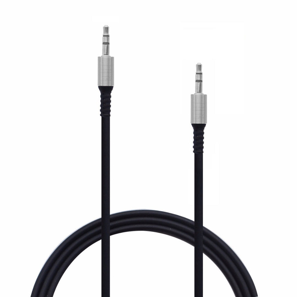 Audio Cable 3.5 mm (6.5 Feet) AUX Cable Rugged Wire with Metal Head  EZ434 BLACK - EZELLER