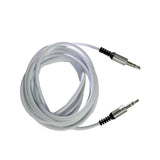 Audio Cable 3.5 mm (6.5 Feet) AUX Cable Rugged Wire with Metal Head EZ434 WHITE - EZELLER
