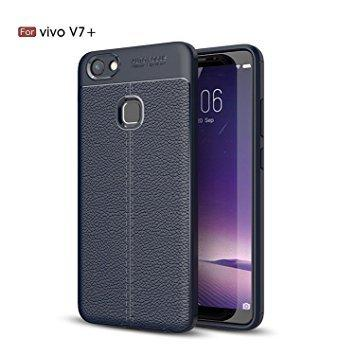 Vivo V7+ plus Cover/ Case Premium Look Back Case [Leather Texture Design] Rugged TPU Material Slim Fit Flexible Lightweight Shock Protective Back Cover for Vivo V7+ plus -EZ327 - EZELLER