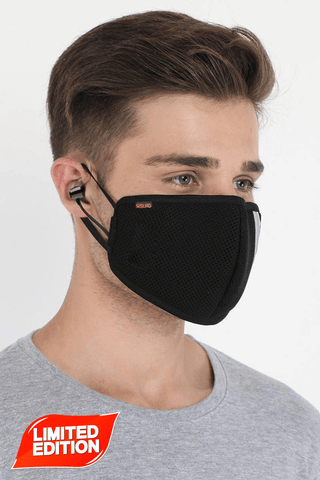 Seguro Bluetooth Mask Headset with 4 Layer Shield Reusable Outdoor Protection Face Mask with Wireless Bluetooth Headset