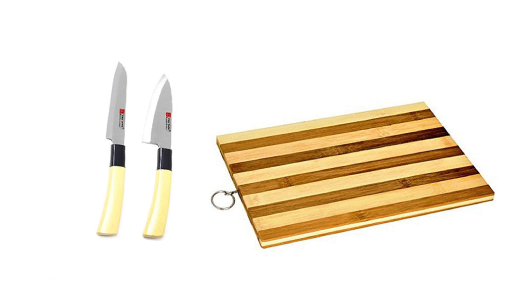 Knife Set (Pack of 2) + Wooden Chopping Board Chef Knife & Sashimi Knife for Cutting Fruits, Vegetable, Meat, Fish & More