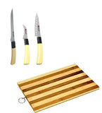 Essential Kitchen Combo Knife Set (Pack of 3) + Wooden Chopping Board Santoku Knife, Boning Knife & Carving Knives for Cutting Fruits, Vegetable, Meat, Fish & More