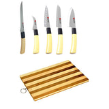 Kitchen Super Combo Pack of 5 Knife Set + Wooden Chopping Board -Chef Knife, Santoku Knife, Boning Knife, Carving Knives & for Cutting Fruits, Vegetable, Meat, Fish & More