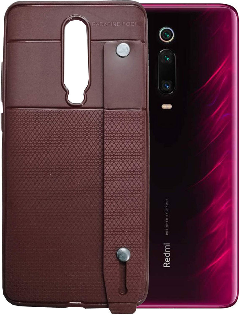 Redmi K20 Case by Focus, 3N1 Cover Anti-Theft Hand Strap, Mobile Stand & Sleek Leather Texture Pouch Cover for Redmi K20