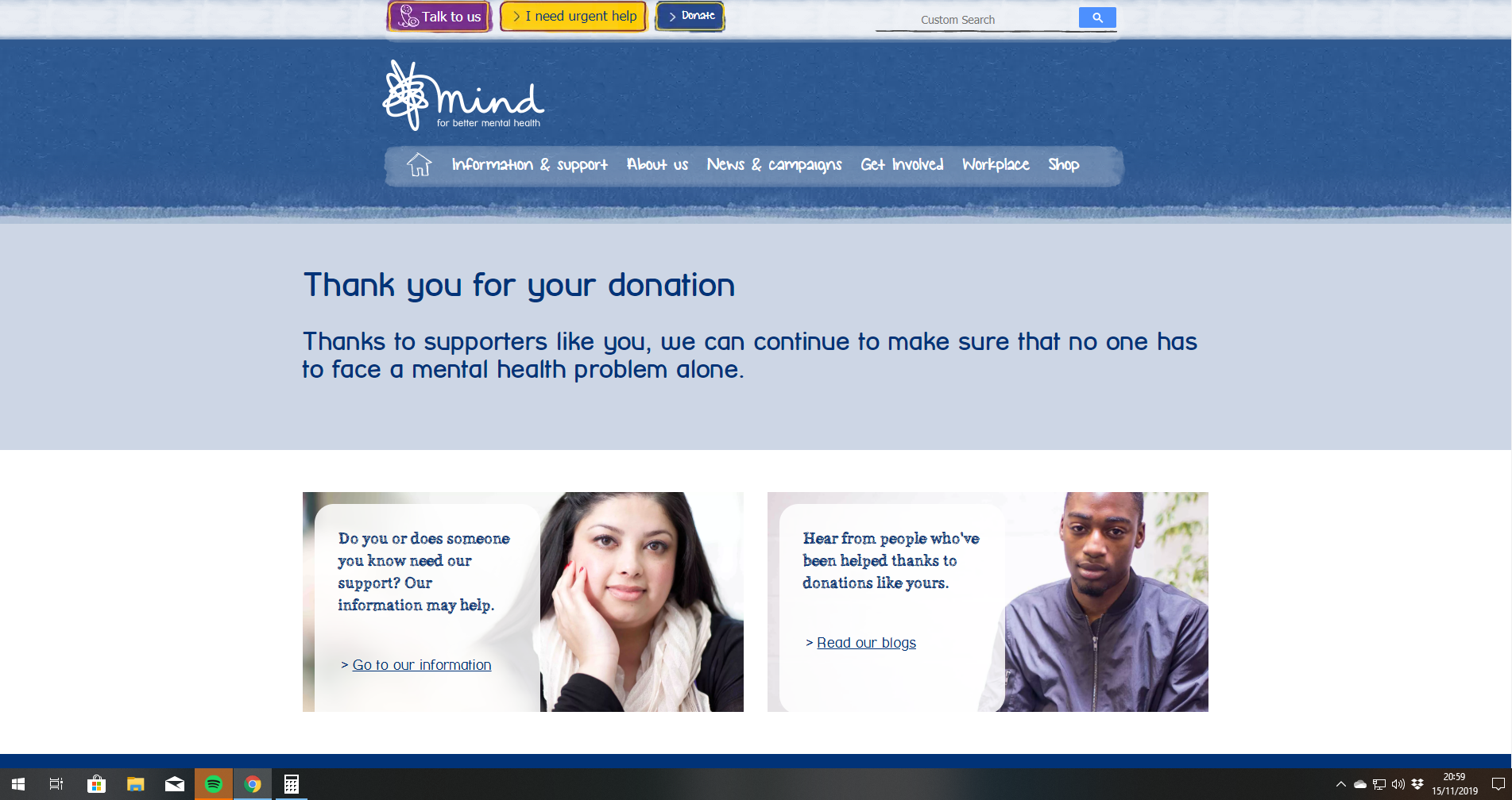 Thank you for your Mind Charity fundraising help!