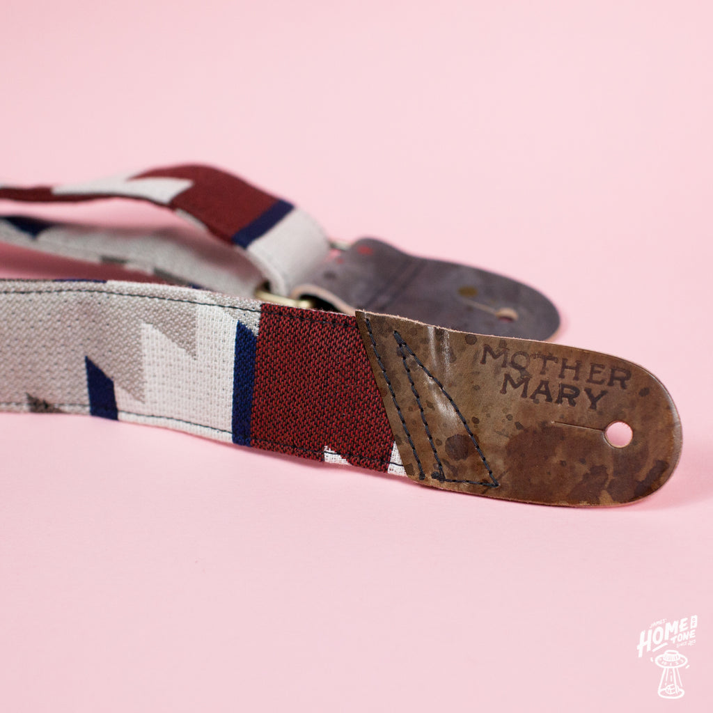 Mother Mary Company handmade guitar strap - Southwest, Red, White, Blue