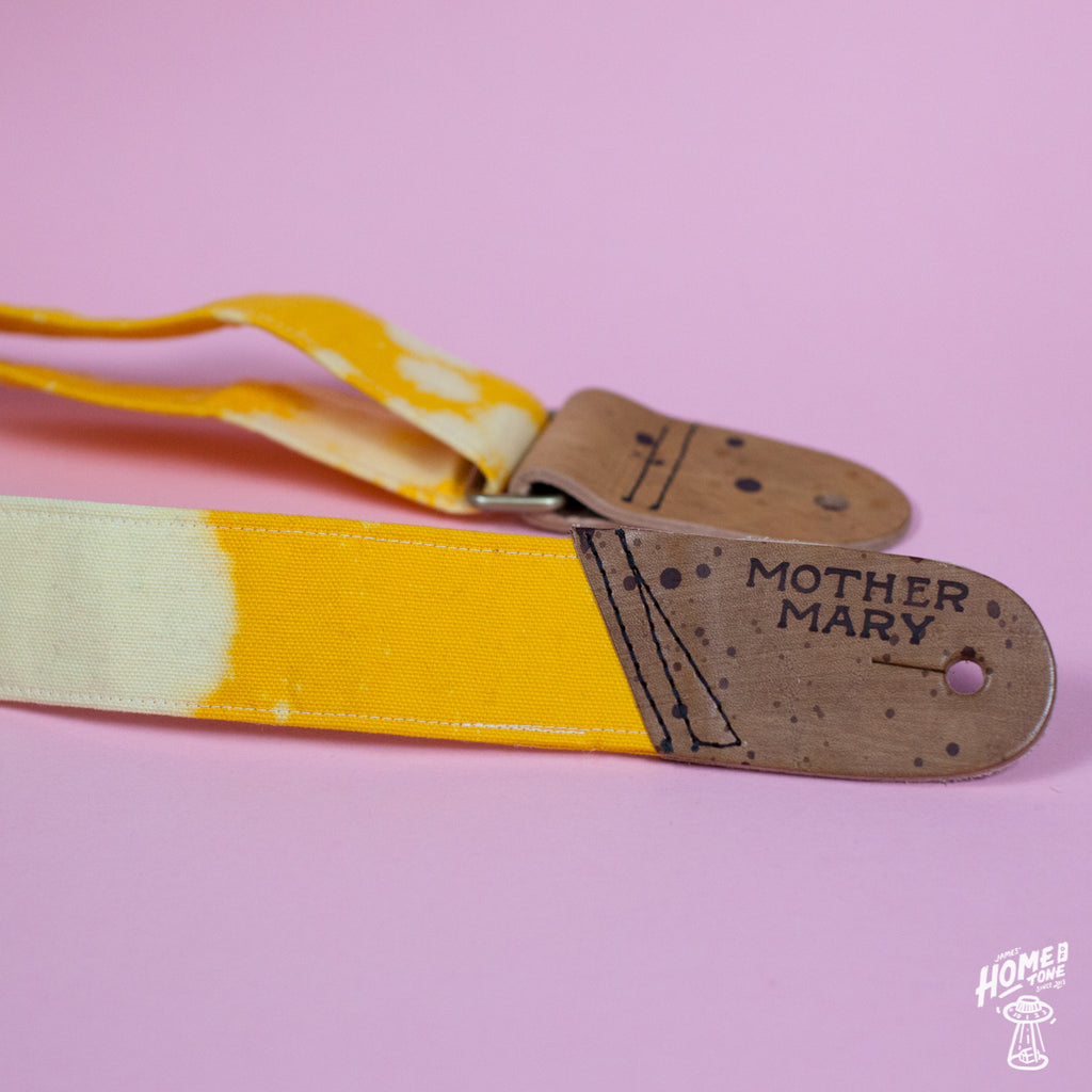 Mother Mary Company handmade guitar strap - Tye Die, Yellow bleached