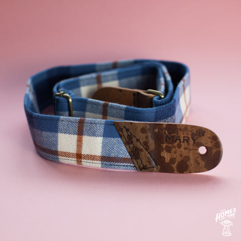Mother Mary Company handmade guitar strap - 'Family Photo' Plaid flannel