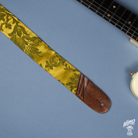 Mother Mary Company handmade guitar strap - Gold floral