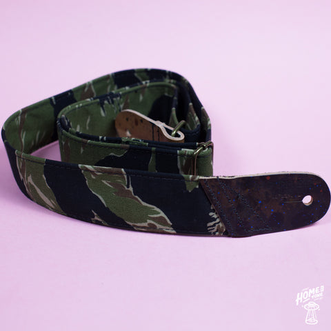 Mother Mary Company handmade guitar strap - 'Napalm' Camo
