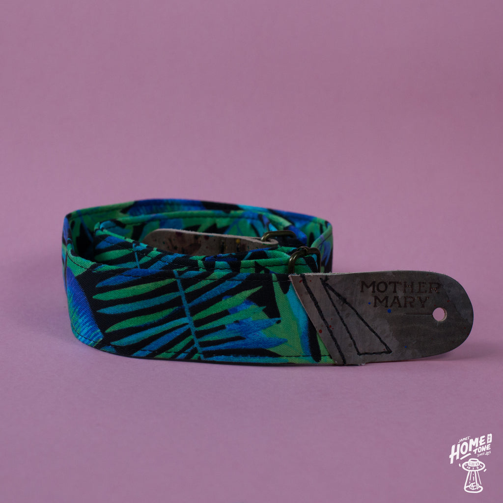 Mother Mary Company handmade guitar strap - Tropical Green