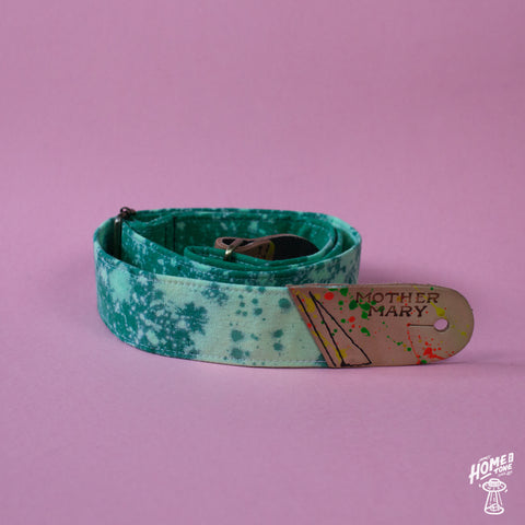 Mother Mary Company handmade guitar strap - Green Bleached