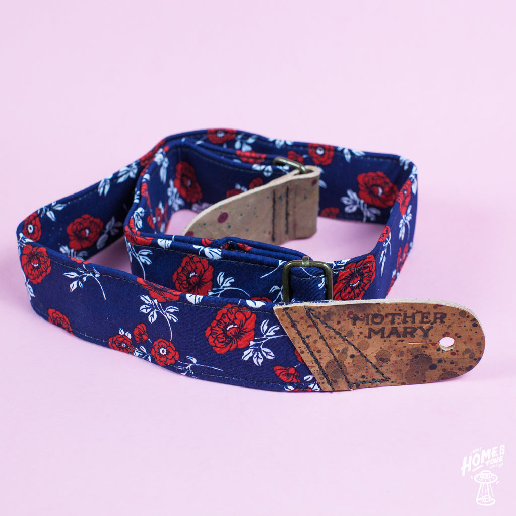 Mother Mary Company handmade guitar strap - 'The Bonnie Walker' Floral