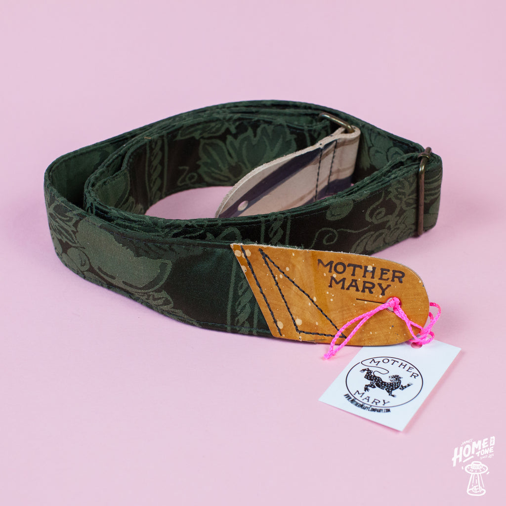 Mother Mary Company handmade guitar strap - 'Granny Gang Green'