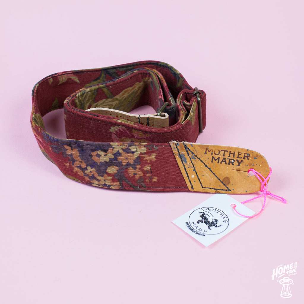 Mother Mary Company handmade guitar strap - 'A Farewell to Arms' Floral