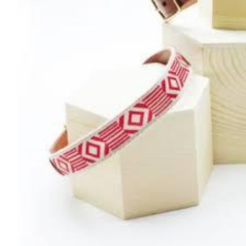 SeeScoutSleep - Out of My Box - Cream & Vermillion Leather Halsbånd