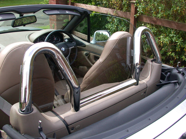 bmw z3 wind deflector to fit dual chrome roll bars tinted