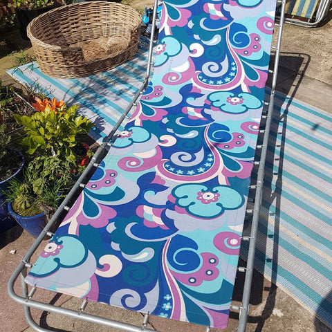 1970s vintage garden sun lounger - turquoise, purple, blue psychedelic