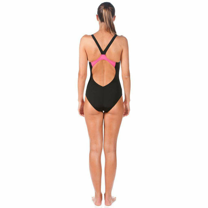 W Spider Panel One Piece Zwart - Roze