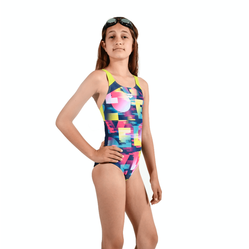 Swim Love Junior Swim Pro Back One Piece - Navy/Zacht Groen