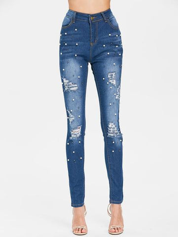 Beaded High Waist Denim Jeans