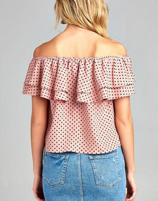 Double Ruffle Off Shoulder Top | Grealz.com - Enjoy Free Shipping