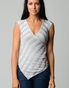 Burnout Lurex Stripe Applique Top | Grealz.com - Enjoy Free Shipping
