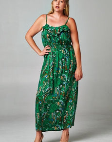 Plus Size Printed Smocked Maxi Dress | Grealz.com - Enjoy Free Shipping