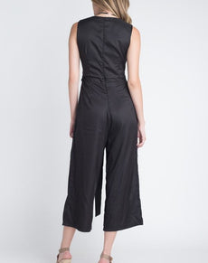Sleeveless Tie Jumpsuit W/Slit | Grealz.com - Enjoy Free Shipping