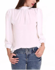 Elegant Chiffon White Office Ladies Shirt | Grealz.com - Enjoy Free Shipping