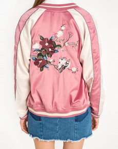 Pink Women Jacket Floral Embroidery | Grealz.com - Enjoy Free Shipping