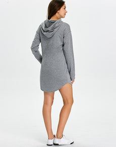 Hooded Pocket Sweatshirt Dress | Grealz.com - Enjoy Free Shipping