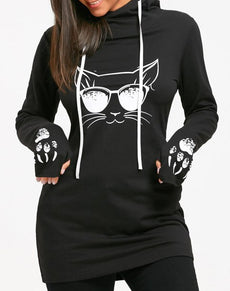 Cat Print Drawstring Tunic Hoodie | Grealz.com - Enjoy Free Shipping