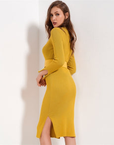 Knitted Sweater Dress W/Belt | Grealz.com - Enjoy Free Shipping