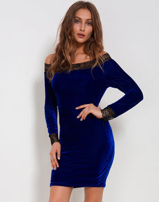 Velvet Lace Bodycon Dress | Grealz.com - Enjoy Free Shipping