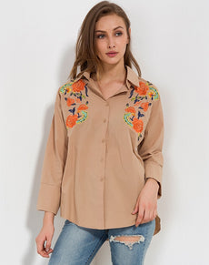 Floral Turn Down Collar Blouse | Grealz.com - Enjoy Free Shipping